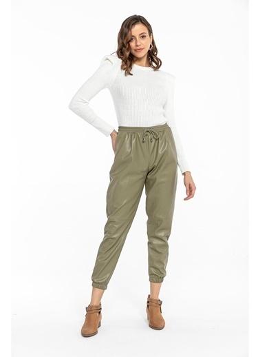 Tiffany&Tomato Pileli Lastikli Deri Pantolon-Taba Yeşil